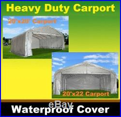 20'x20' 20'x22' Heavy Duty Carport Shelter Canopy Grey/White Two Sizes