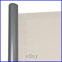 237 x 71 H Patio Retractable Double Folding Side Awning Screen Divider Beige