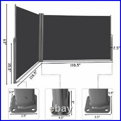 237x 63 H Patio Retractable Double Folding Side Awning Screen Divider