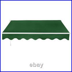 3.5 x 2.5m Retractable Manual Awning Garden Canopy Patio Sun Shade Shelter Green