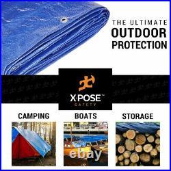 30' X 60' Multi Purpose Blue Poly Tarp Cover Tent Shelter RV Camping Tarpaulin