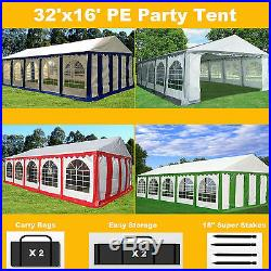 32'x16' PE Party Tent Color Tents Heavy Duty Carport Canopy Wedding Shelter