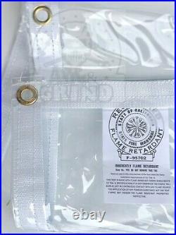 7' x 20' Clear Tarp 24 MIL Smooth Vinyl Patio Enclosure Fire Retardant USA Made