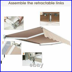 8'× 6.5' Retractable Awning Aluminum Patio Sun Shade Awning Cover with Crank