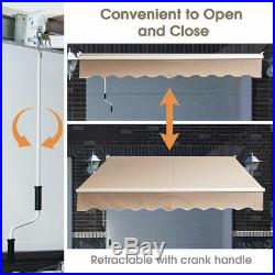 8'× 6.5' Retractable Awning Aluminum Patio Sun Shade Awning Cover withCrank Handle