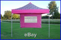 8' x 8' Pop Up 4 Wall Canopy Party Tent Gazebo EZ Pink Zebra