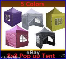 8' x 8' Pop Up Canopy Party Tent Gazebo EZ 5 Colors Available