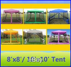 8'x8'/10'x10' Pop Up Canopy Party Tent Gazebo EZ w Net 6 Colors Available