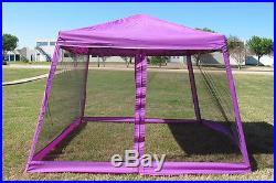 8'x8'/10'x10' Pop Up Canopy Party Tent Gazebo EZ w Net Purple