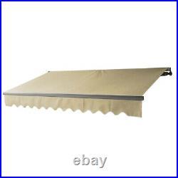 ALEKO Motorized Black Frame Retractable Home Patio Canopy Awning 12'x10' Ivory