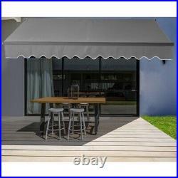 ALEKO Motorized Black Frame Retractable Home Patio Canopy Awning 20'x10' Grey