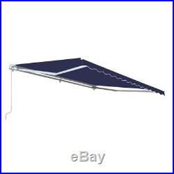 ALEKO Motorized Retractable Patio Awning 10 X 8 Ft Blue Color