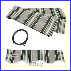 ALEKO Motorized Retractable Patio Awning 20 X 10 Ft Multistripe Green Color