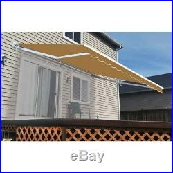 ALEKO Retractable Patio Awning 13 X 10 Ft Deck Sunshade Canopy Sand Color