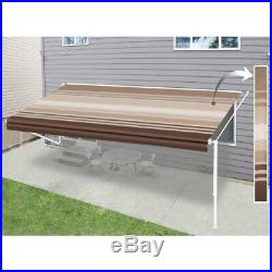 ALEKO Retractable RV or Home Patio Canopy Awning 20Ft X 8Ft Brown Stripes Color