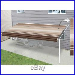 ALEKO Vinyl RV Awning Fabric Replacement 20X8 ft Brown Stripes Color