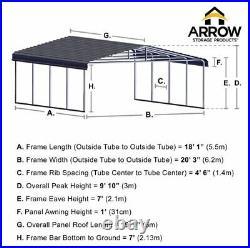 Arrow Sheds Metal Carport Canopy Wind/Snow Rated 20x20x7 Charcoal-Black frame