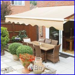 Awning Sun Shade Patio Outdoor Canopy Manual 10x8 Retractable Flexible Yard Tan
