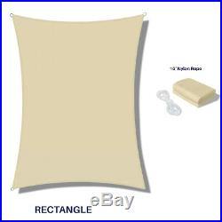 Beige Waterproof Sun Shade Sail Rectangle Awning Top Canopy Custom Size 5' -24