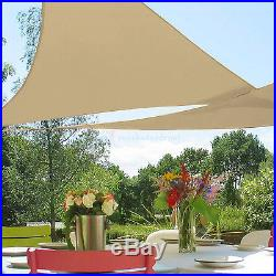 Beige Waterproof Terylene Woven Shade Sail Sun UV Protection Garden Yard Pool