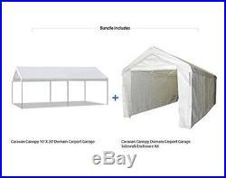 Caravan Canopy 10 X 20 Domain Carport Garage w Sidewall Enclosure Shelter Tent