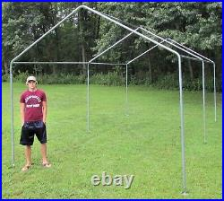 Carport Canopy Kit 12'x20' Boat Garage Tent Shade with 1-3/8 Legs/ Poles bases