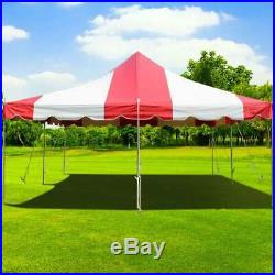 Event Party 20' x 20' Pole Tent Red White 14 Oz Vinyl Canopy Waterproof Shelter