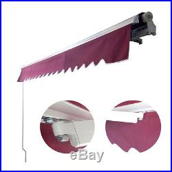 Manual Patio 10'x 8' Retractable Deck Awning Sunshade Shelter Canopy Outdoor DIY