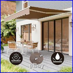 Manual Patio Awning Retractable Canopy Cover Deck Door Outdoor Sunshade Backyard