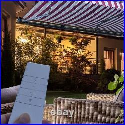 Motorized Retractable Awning Outdoor Yard Backyard Sunshade Patio Canopy Lights