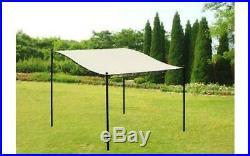 NEW Stylish Beige Metal Canopy Gazebo Rain Shelter Garden Party BBQ Sun Shade