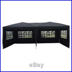 New 10'x 20' EZ POP UP Black Party Tent Wedding Gazebo Canopy Marquee 6 Walls