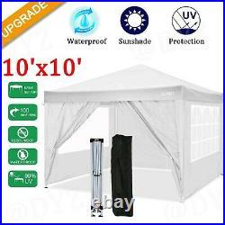 New! 10'x10' Heavy Duty Canopy Folding Waterproof Party Tent Gazebo +4 SideWalls
