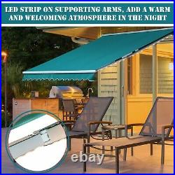 New Pro Electric Awning Motorised Retractable Sunshade Led Outdoor Garden Canopy