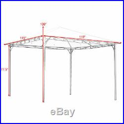 Outdoor 10'x10' Square Gazebo Canopy Tent Shelter Awning Garden Patio Beige New