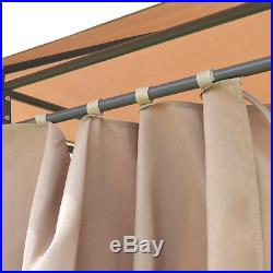 Outdoor 10'x13' Gazebo Canopy Tent Shelter Awning Steel Frame WithWalls Brown New