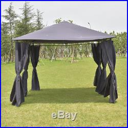 Outdoor 10'x13' Gazebo Canopy Tent Shelter Awning Steel Frame WithWalls Gray New