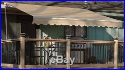 Outdoor 12×10' Manual Retractable patio deck awning sun shade shelter canopy tan