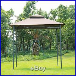 Outdoor 8FT Double-tier BBQ Grill Canopy Barbecue Shelter Tent Patio Deck Cover