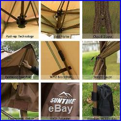 Outdoor Gazebo Canopy 12'x12' Pop Up Tent Mesh Mosquito Net Patio Solar LED