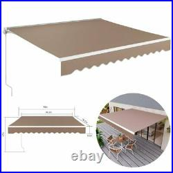 Outdoor Patio Awning Manual Retractable Sun Shade Shelter UV Resistant WithCrank