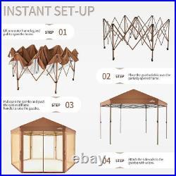 Outdoor Patio Hexagon Gazebo 6.6 x 9.2' Pop Up Canopy Garden Backyard Party Tent