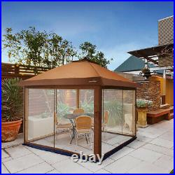 Outdoor Pop Up Gazebo Canopy with Mosquito Netting and Solar LED Light for Party