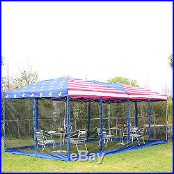 Outsunny 10x20ft Pop-Up Tent Party Wedding Canopy Gazebo Patio Outdoor USA Flag