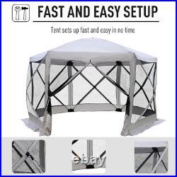 Outsunny 11.5' x 11.5' Hexagon Pop Up Gazebo Tent with Mesh Netting Patio