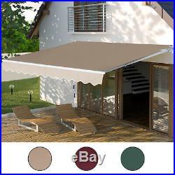 Outsunny 12' x 8.2' Retractable Patio Awning Sun Shade Outdoor Patio Outdoor