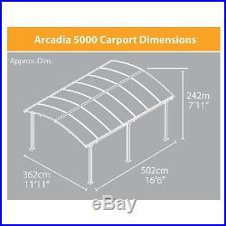 Palram Arcadia Carport Patio Cover Kit, Gray