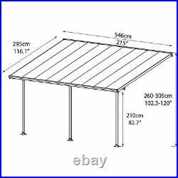 Palram patio Free Outdoor Garden Patio Cover Veranda Canopy in Grey, 3 x 5.46m