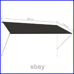 Patio Awning Manual Retractable Sun Shade Awning Outdoor Canopy Shelter