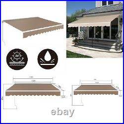 Patio Awning Manual Retractable Sun Shade Awning Outdoor Deck Canopy Shelter